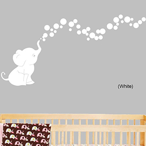 sc 1 st  Amazon.com & Amazon.com: Elephant Bubbles Nursery Wall Decal Set (White): Baby
