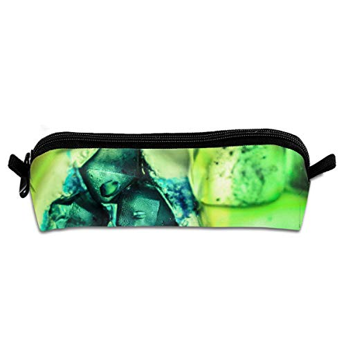 Macro Green Stone Ice Cubes Pen Pencil Stationery Bag Makeup Case Travel Cosmetic Brush Accessories Toiletries Pouch Bags Zipper Resistance Carry Handle Power Lines Hanging Handbag Documents