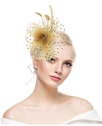 - Gold Fascinators for Women Flower Cocktail Tea Party Feather Headwear Top Hats Wedding Headband for Girls
