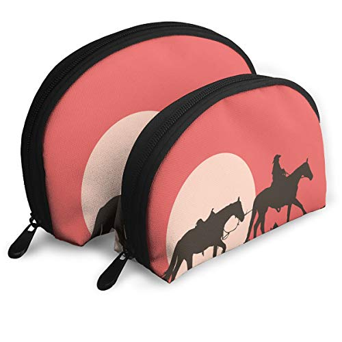 Eratdatd Customized Western Cowboy Style Riding at Sunset Shell Portable Zipper Bag?2 Bags?, Suitable for Women Cosmetics, Handbags/Handbags, Women Accessories.]()