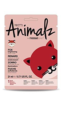 masque Bar Pretty Animalz Sheet Mask, FOX Brightening Full Face Mask, Single Pack