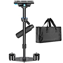 """Neewer Carbon Fiber 24inches/60centimeters Handheld Stabilizer with Quick Release Plate 1/4"""" and 3/8"""" Screw for Canon Nikon Sony and Other DSLR Cameras, Video Cameras up to 6.6pounds/3kilograms, Black"""
