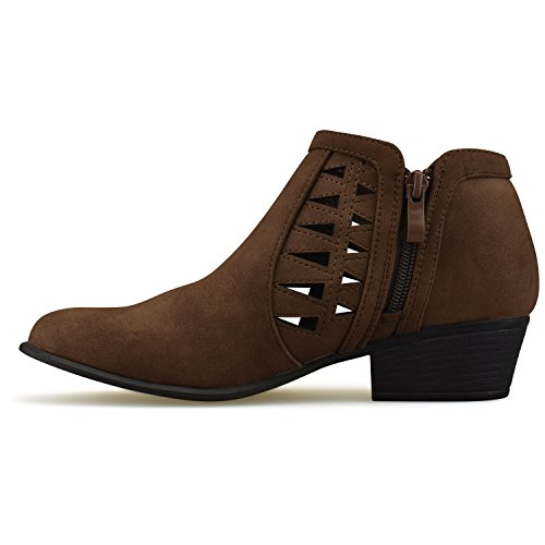 Premier Strap Closed Brown Bootie Ankle Standard Women's Toe Multi qxqrfaC1