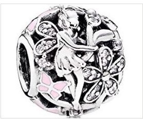 Dazzling Daisy Fairy Bead 925 Sterling, with Pink Enamel Butterflies and CZ Chips, fits European Style