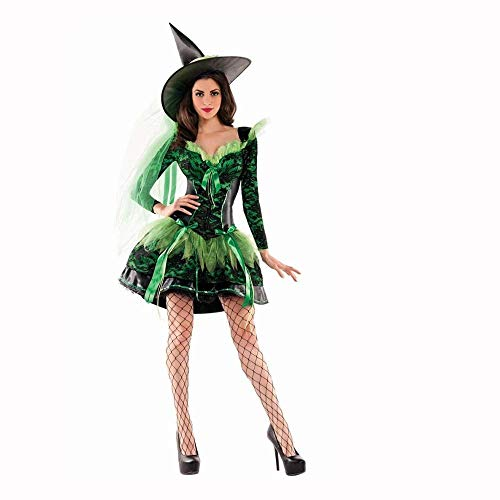 Masked Magician Halloween Costume (Fashion-Cos1 Wizads Costume Halloween Party Women Witch Costume Sexy Fancy Magician Performances Dress Vampire Spider Witch Skirt Cos)