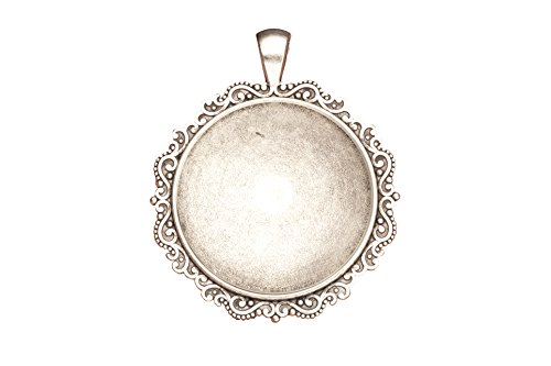 - www.Beadingsupplys.com 3 counts locket plate round silver Locket focal memorial picture
