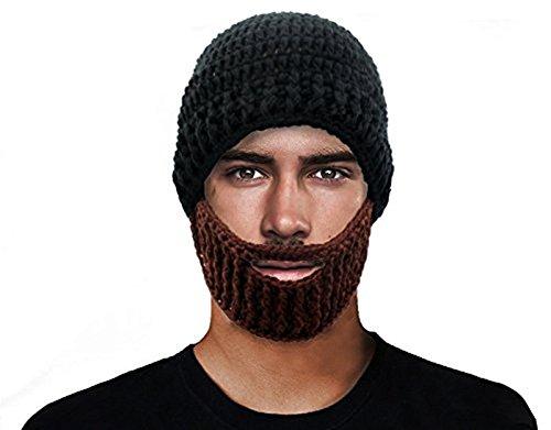 GIANCOMICS Black Wacky Beard Hat Knit Funny Beanie Halloween Cap Wind Mask (Beanie Beard)