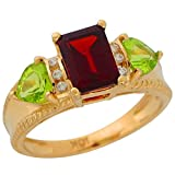 14k Yellow Gold Genuine Garnet Peridot and Diamond Accented Ladies Fancy Ring