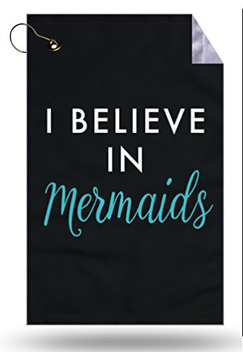 Moonlight Printing I Believe in Mermaids White and Teal Type Black Background Microfiber Velour 11x18 Golf Bag Towel with Grommet and Clip