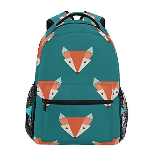 TropicalLife Cartoon Fox Face Backpacks School Bookbag Shoulder Backpack Hiking Travel Daypack Casual Bags