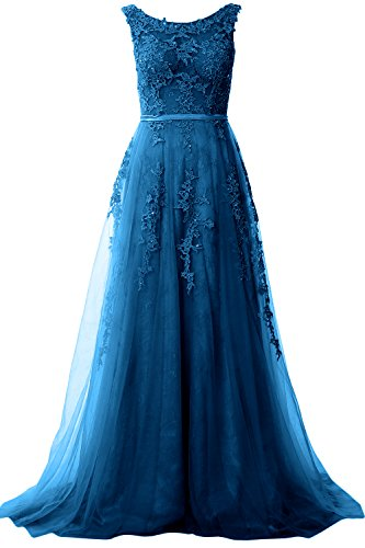 MACloth Women Boat Neck Lace Long Prom Dress Vintage Wedding Party Formal Gown Teal