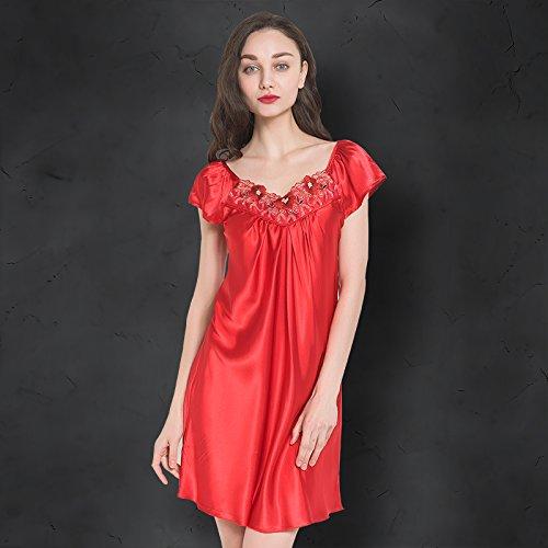 Wanglele Princesse DÉté Pyjama Court En Satin Chemise De Soie Soie Jupe En Dentelle Grande Taille DHiver Dans La Section Fine Robes, M, Rouge
