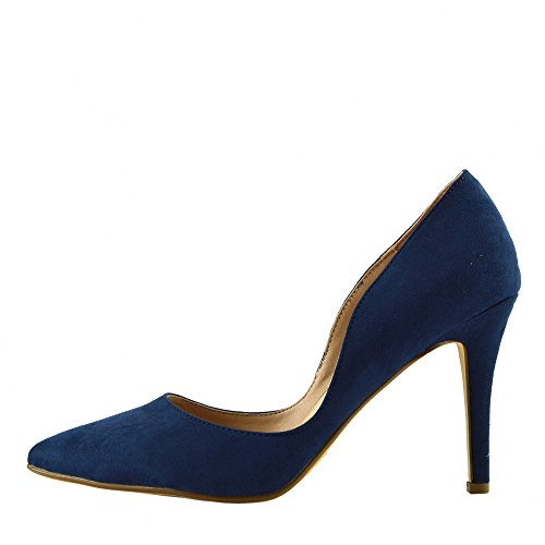 Womens Stilletto High Heel Pointed Toe Party Shoes Navy F9994 xp7BMGcdoR