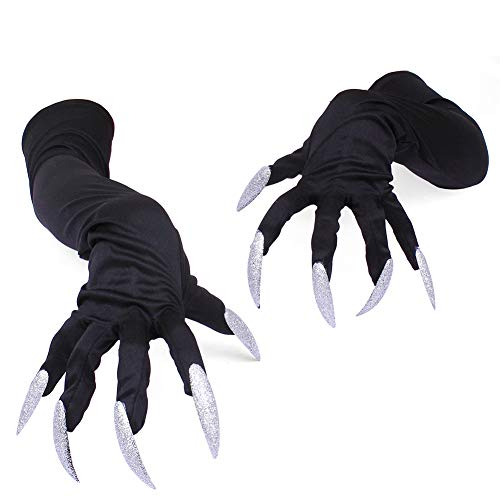 Lolylina Scary Long Fingernails Gloves Halloween White Nails Mini Funny Props False Nail Sets Witch Scary Cat for Women Men Fancy Costume Party Cosplay Animal Paw Claw Hand Gloves -