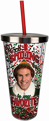 Spoontiques 21330 Elf Smiling Glitter Cup w/Straw, One Size, Red & Green