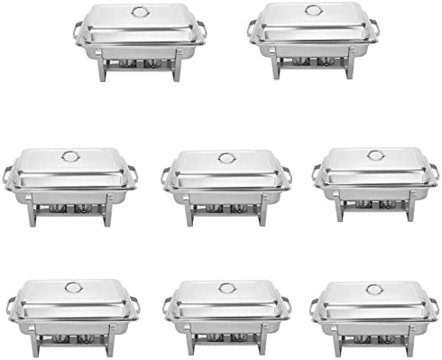 BestEquip Chafing Dish Set 8 Pack 8 Quart Chafer Dish Set Full Size Stainless Steel Chafer with Foldable Frame pack of 8