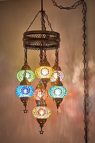 (Customizable Globes) DEMMEX 2019 Hard-Wired or PLUGIN 1,3,5,7,9 Globes Chandelier Lights Turkish Moroccan Mosaic Ceiling Hanging Pendant Chandelier Light Lighting (7 Globes PlugIn, 37
