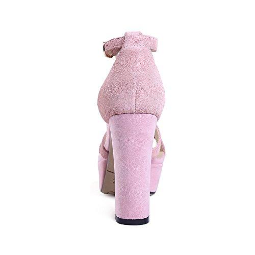 AalarDom Mujeres Peep Tacón ancho Material Suave Sólido Hebilla Sandalia Rosa