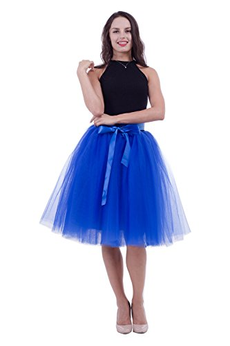 - Women's Adult 7 Layered Pleated Tulle Tutu Skirt A Line Knee Length Petticoat Prom Party Skirt