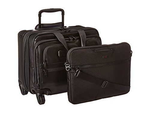 - TUMI - Alpha 2 Carry-on Wheeled Leather Laptop Deluxe Brief Briefcase - 15 Inch Computer Brief for Men and Women - Black
