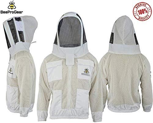 Bee Jackets JFV 3倍レイヤー安全 – ユニセックスホワイトファブリックメッシュ養蜂ジャケット – 養蜂フェンスベール保護服 – 完全通気性 蜂保持ジャケット