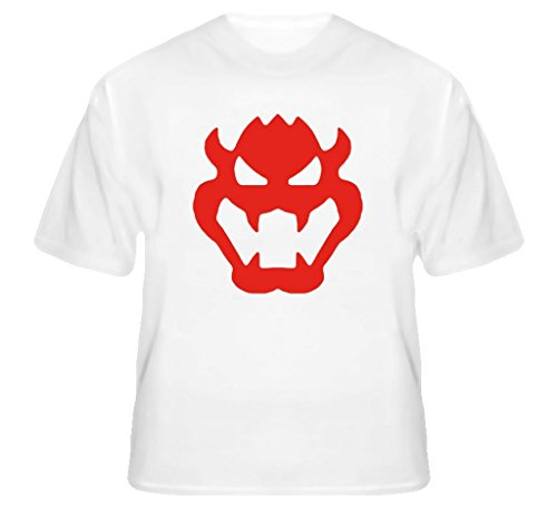 T-shirt White Bro (Super Mario Bros Bowser Logo T Shirt M White)