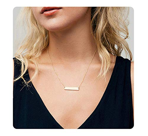 (S.J JEWELRY Fremttly Womens Simple Delicate Handmade 14K Gold Filled/Rose Gold/Silver Simple Delicate Heart and Bar Chokers Necklace for Mothers Day-CK-Bar)