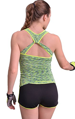 Tiheen Womens Tight-Fitting Rackerback Yoga Stretchy Compression Tank Top Shirt Sport (Green M)