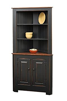 Primitive Pine Corner Kitchen Hutch (Stain- Acorn)
