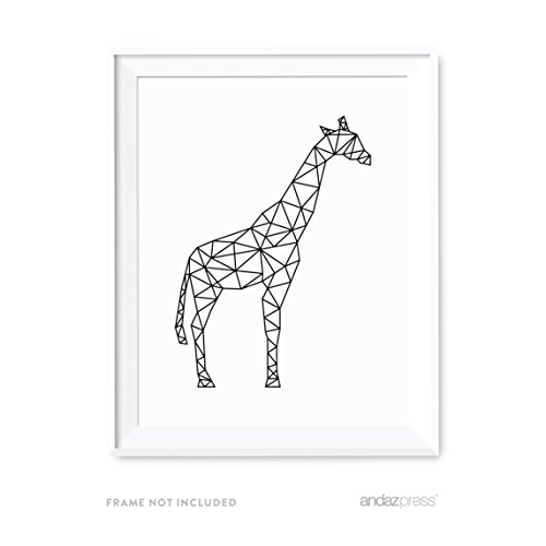 - Andaz Press Geometric Origami Wall Art Collection, Black and White Minimalist Print, Giraffe, 8.5x11-inch, 1-Pack