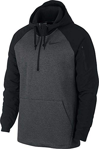 NIKE Men's Therma Utility Fleece 1/4 Zip Pullover (Charcoal Heathr/Black, X-Large)