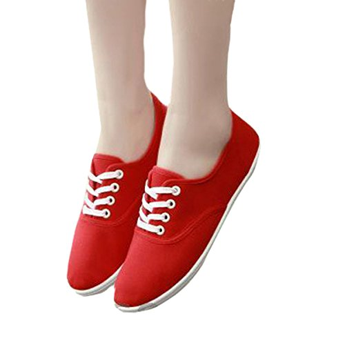 Dear Time casual Candy Color Canvas Shoes Red TGCVbZ