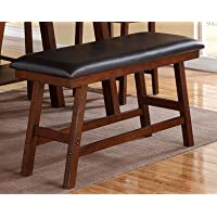 Poundex Dark Brown Faux Leather Seat Solid Wood High Bench