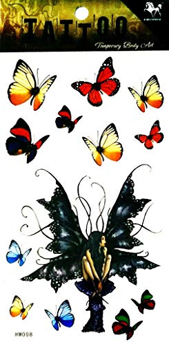 PP TATTOO 1 Sheet Butterfly Angel Wing Fly Waterproof Temporary Tattoos Body Arm Art Sticker Fake Tattoo Sexy Make up Body Art for Men Women