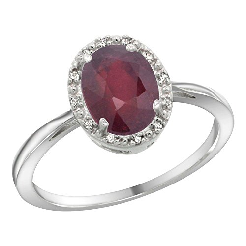 Sterling Silver Natural Enhanced Ruby Diamond Halo Ring Oval 8X6mm, 1 2 inch wide, sizes 5-10