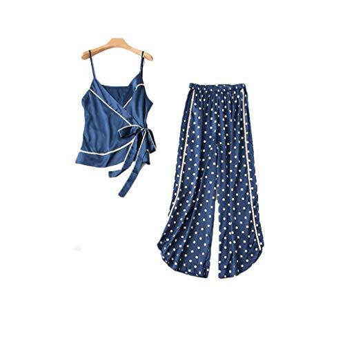 (Hot!Polka dot Pajamas Two-Piece Suit Fitfulvan Womens New Sleepwear Sexy Sleeping Bandwidth Slacks Lingerie Sleepwear Blue )