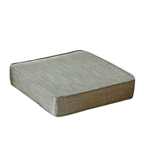 Linen Chair Pads, Solid Color Sofa Cushioning Sponge Cushion Thick Hard Indoor Seat Cushion Bay Window pad-L 65x65cm(26x26inch) (Window Sofa Bay)