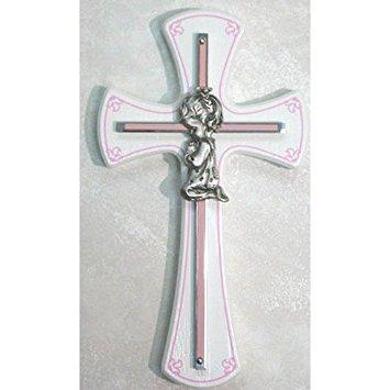 (McVan Praying Girl Cross on White Wood)