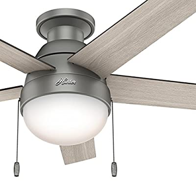 "Hunter 46"" Matte Silver Finish Contemporary Celing Fan with Light Kit (Certified Refurbished)"