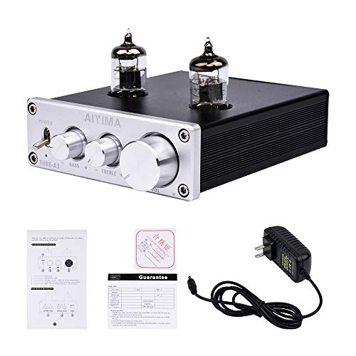 AIYIMA Audio 6J1 Tube Preamplifier HiFi Treble & Bass Adjustment Audio preamp DC12V Stereo Tube Amplifier Preamp NE5532P Chips for Home Theater System(Tube-A3,Silver) (Pre Amplifiers Home Theater)