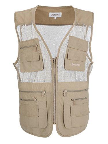 Cheap LUSI MADAM Men's Mesh Breathable Multi Pocket Fishing Vest US S/Asia XL Khaki