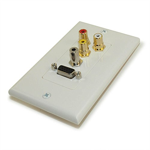 MyCableMart Wall Plate: VGA, 3.5mm Audio, and 3 RCA, Nickel Plated, Decor, (Vga Decor Wall Plate)