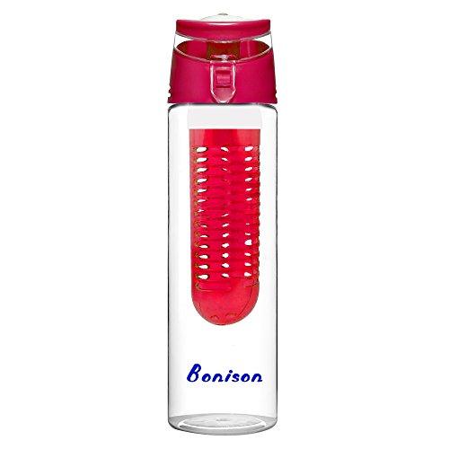 24 oz Newest Design Tritan Fruit Infuser Water Bottle, Sports Bottle, School Bottle, Leak Proof, Folded Handle, for Fruit, Juice, Iced Tea, Lemonade & Sparkling Beverages - with 2 Gifts (Red)