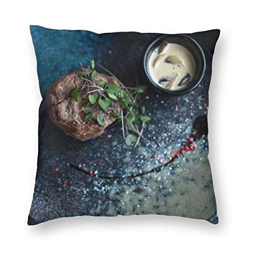 Osvbs Grilled Meat with Dip Multi-Code Creative Home Double-Sided Printed Pillowcase Without Pillow Core with Invisible Zipper 24