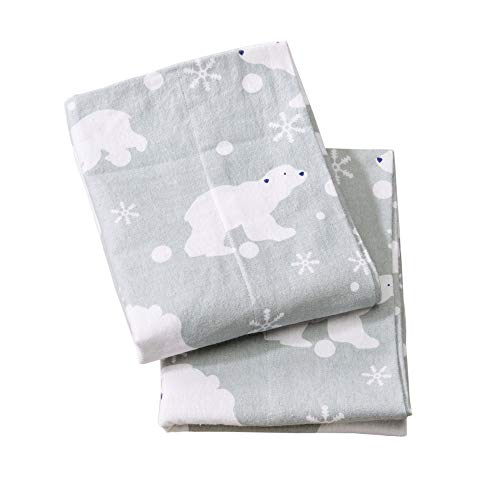 Home Fashion Designs Stratton Collection Extra Soft Printed 100% Turkish Cotton Flannel Pillowcases. Warm, Cozy, Lightweight, Luxury Winter Pillowcases Brand. (Standard, Grey Polar Bears)