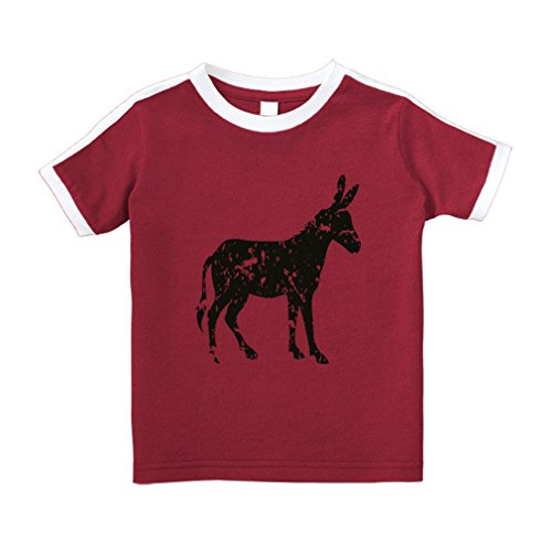 Donkey Shadow Cotton Short Sleeve Crewneck Unisex Toddler T-Shirt Soccer Tee - Red, 3T
