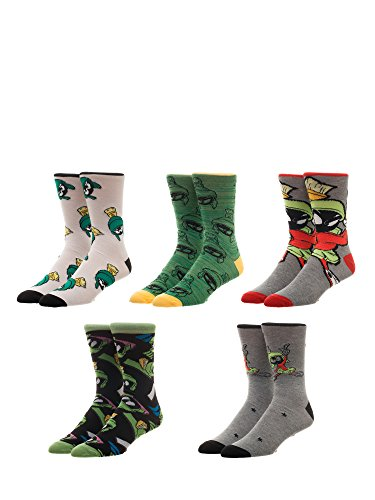 Looney Tunes Marvin the Martian 5 Pair Casual Crew Socks,Multicoloured,10-13