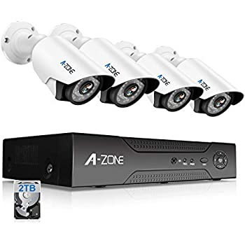 A-ZONE Security Camera System 4 Channel 1080P DVR 4 x 960P HD Waterproof Night Vision Indoor/Outdoor Home CCTV Video Wired Surveillance Kits, Customizable Motion Detection,Pre-installed 2TB HDD
