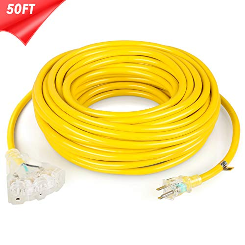 SIMBR 12/3 50 FT Extension Cord Outdoor/Indoor, Heavy Duty Lighted 3 Outlets Electrical Cord, 3 Prong, 12 Gauge,15 Amps, 1875 Watts, UL Listed, SJTW, Yellow