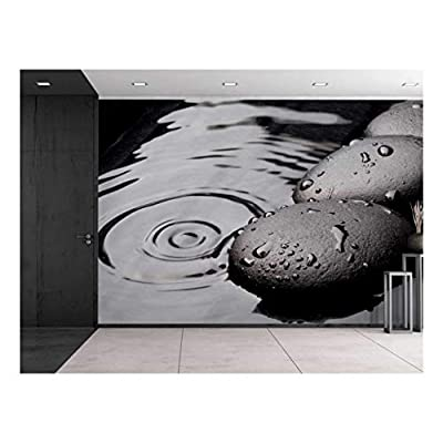 Black Rocks on a Lake - Wall Mural, Removable Sticker, Home Decor - 66x96 inches